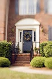 Picking A Front Door Color Glossy Dark Grey Door Red Brick Big White Trim Black Accents If