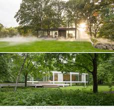 exhibition side by side philip johnson u0027s glass house and mies