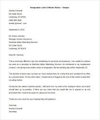 2 week resignation letter best business template