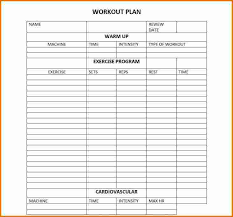 workout char template workout schedule template download workout