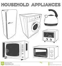 modern kitchen appliances set vector illustration in retro style