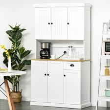 homcom kitchen pantry cupboard wooden storage cabinet organizer shelf white homcom 71 wood kitchen pantry storage cabinet microwave