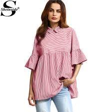 baby doll blouses sheinside stripe babydoll blouse ruffle sleeve point