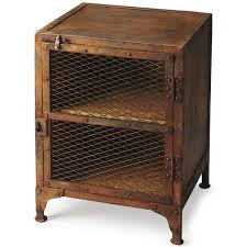 Cabinet End Table Industrial Modern End Table Iron Rust Finish With Cage Cabinet
