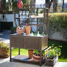 Modern Metal Outdoor Furniture Belham Living Modern Metal Outdoor Potting Bench With Storage