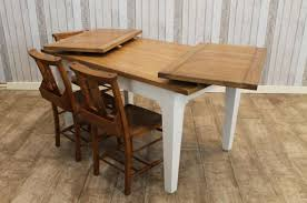 OAK EXTENDING FARMHOUSE TABLE WITH A PAINTED FARROW  BALL BASE - Extendable kitchen tables