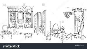 Bedroom Furniture In Black Set Outline Elegant Bedroom Furniture Old Stock Vector 592792541