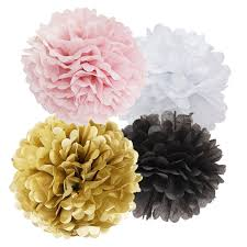 Black And White Ball Decoration Ideas Amazon Com 16pcs Tissue Paper Pom Pom White Pink Gold Black Paper