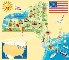 New York State Map Cartoon Map Of New York Stock Vector Art 167591132 Istock