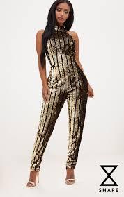 gold jumpsuit shape gold sequin halterneck jumpsuit curve prettylittlething usa