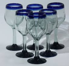 mexican wine glasses hand made set of 6 cobalt blue rim base