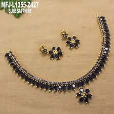 blue sapphire necklace set images Blue sapphire stones flowers leaves design gold plated finish jpg
