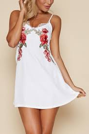 white floral embroidery eyelash lace slip dress mini
