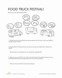 money math problems food truck festival worksheet education com