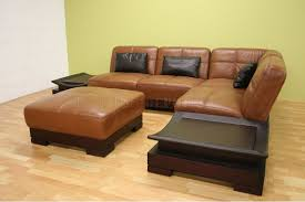 Brown Leather Sectional Sofas by Full Leather Modern Sectional Sofa W Built In Side Tables