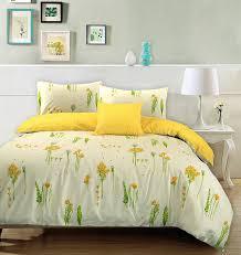 summer breeze 100 cotton duvet quilt cover fl cream yellow reversible bedding set double co uk kitchen home