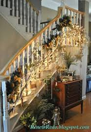 Christmas Railing Decorations Simple Garland With Lights And Christmas Ball Ornaments