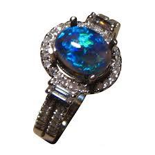 blue gem rings images Semi black opal diamond ring blue oval stone flashopal black opal jpg
