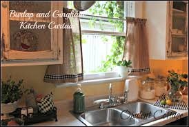 opulent cottage burlap and gingham kitchen curtain