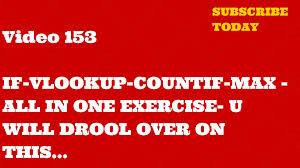 Countif Sumif Minif Learn Excel 153 Exercise On Vlookup If Countif And Max