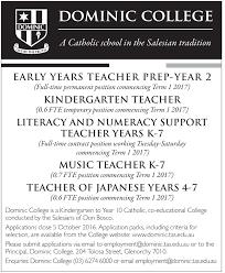 Kindergarten Teacher Assistant Job Description Employment Opportunities Dominic College