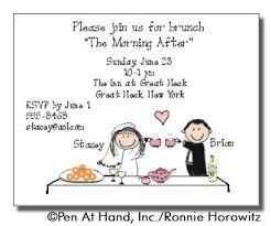 wording for day after wedding brunch invitation wedding brunch personalized party invitations by the personal note