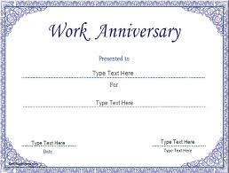 business certificate work anniversary certificate template