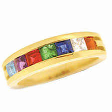 day rings personalized personalized princess cut birthstone s ring in 10k gold 3 7