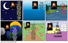 what day did god create light the seven days of creation storyboard by emarshall