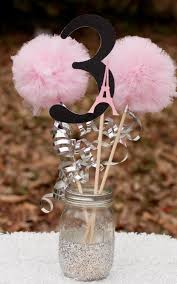 paris party pink black and silver eiffel tower centerpiece table