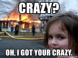 Your Crazy Meme - crazy oh i got your crazy disaster girl meme generator