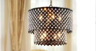 Drum Pendant Chandelier With Crystals New Bronze Drum Chandelier Light Pendant Fixture Lamp Iron Crystal