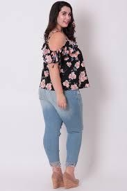 open shoulder blouse plus size floral open shoulder blouse black curvy sense