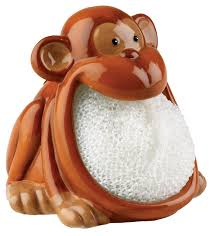 Kitchen Sink Scrubber Holder by Amazon Com Monkey Scrubby Holder U0026 Non Scratch Dish Scrubber