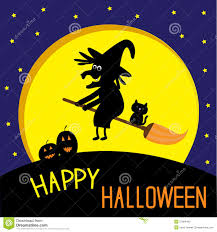 flying black witch and cat big moon happy hallow stock photo