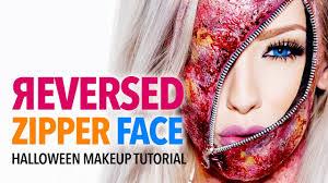 reversed zipper face halloween makeup tutorial youtube