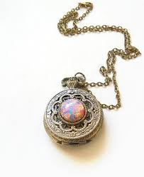 necklace pendant watch images Pocket watch locket style necklace pink fire opal pocket watch jpg