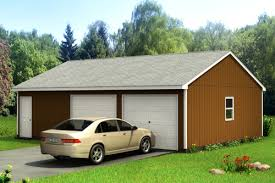 22x22 2 Car 2 Door Detached Garage Plans by Custom Building Package Kits Two Car Garages