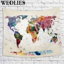 India On World Map Polyester Wall Hanging World Map Tapestry Indian Mandala Throw