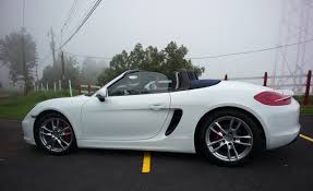 white porsche boxster convertible 981 boxster s white with blue top