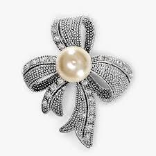 pearl ribbon ribbon pin vintage silver rhinestones pearl ribbon brooch