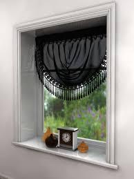 Lace Trim Curtains Maisie Curtain Swag Macrame Lace Trim Pelmet White Black Latte