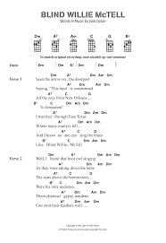 Blind Willie Mctell Bob Dylan Sheet Music Digital Files To Print Licensed Bob Dylan Digital
