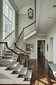 Wood Banister Grey Wood Stain Staircase Traditional With Iron Chandelier Wood