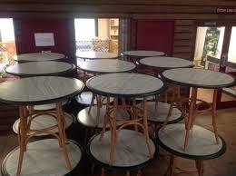 30 quot square black laminate table set with 4 wood slat back