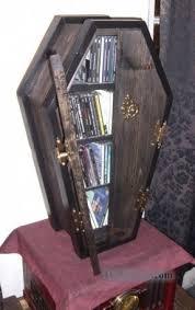 coffin bookshelf wood dvd rack open travel