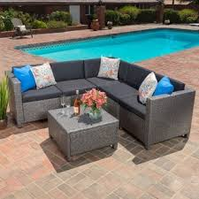 Wicker Sectional Patio Furniture by Puerta Outdoor 6 Piece Wicker V Shaped Sectional Sofa Set By