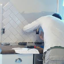 How To Install Tile Backsplash In Kitchen Subway Tile Back Splash In A Herringbone Pattern Simply Swider