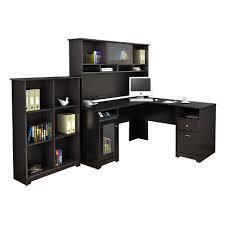 top black l shaped computer desk on shaped desk with optional