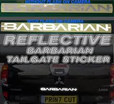 mitsubishi sticker mitsubishi l200 barbarian reflective rear tailgate decal sticker